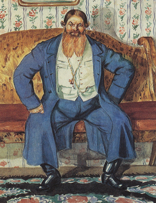 "Boris Mikhailovich Kustodiev. Merchant. From the series ""Russia. Russian types"""