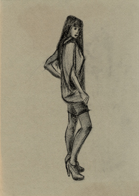 Polina. Woman in a dress. Sketch