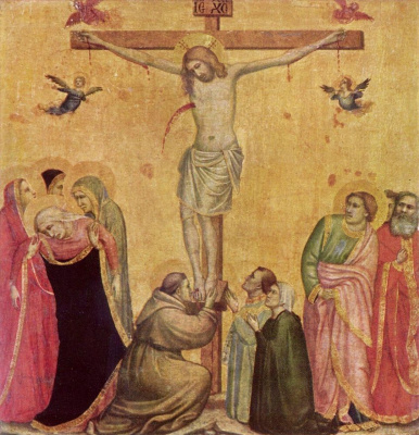 Giotto di Bondone. Christ on the cross between Mary and St John
