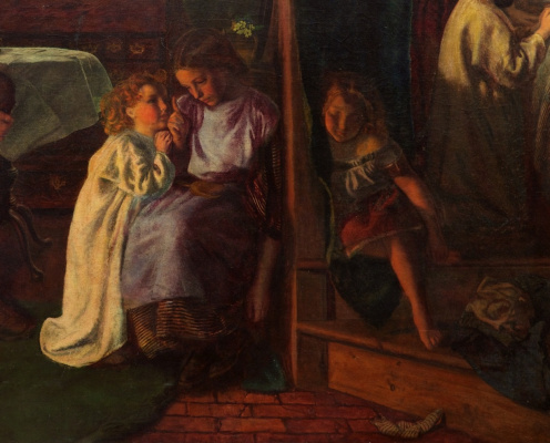 Arthur Hughes. Departure for sleep. Fragment. Girls