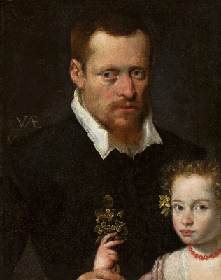 Sofonisba Angisola. Portrait of a man with his daughter