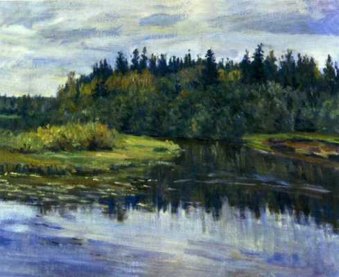 Manuil Khristoforovich Aladzhalov Russia 1862 - 1934. Landscape with a river.