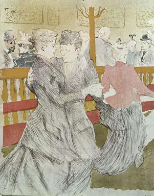 Анри де Тулуз-Лотрек. Танец в Мулен Руж
