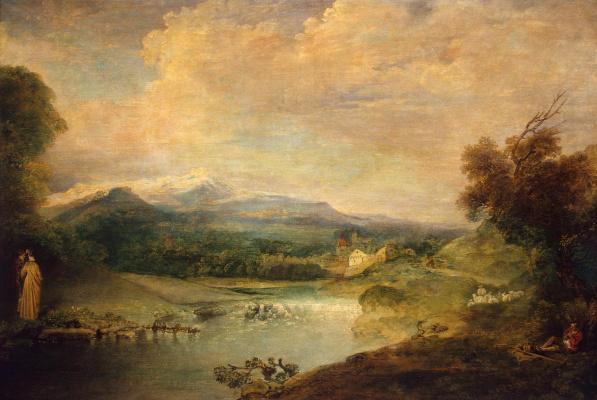 Antoine Watteau. Landscape with waterfall