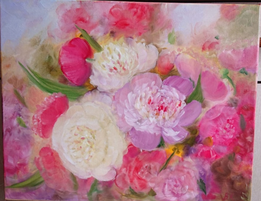 "Valeria Kostromina. Painting ""Peonies"""