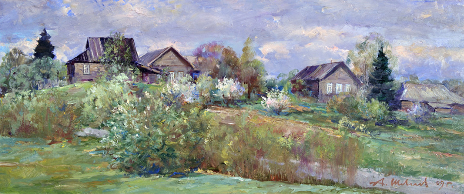Alexander Victorovich Shevelyov. Spring in Golocalise.Oil on canvas 25 # 60 cm, 2009