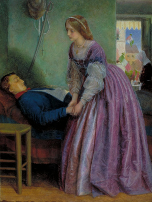 "Arthur Hughes. It was Piedmont. Scene visiting the wounded soldier from the poem ""The Court Lady"""