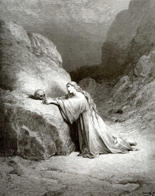 Paul Gustave Dore. Bible illustration: Repentant Mary Magdalene