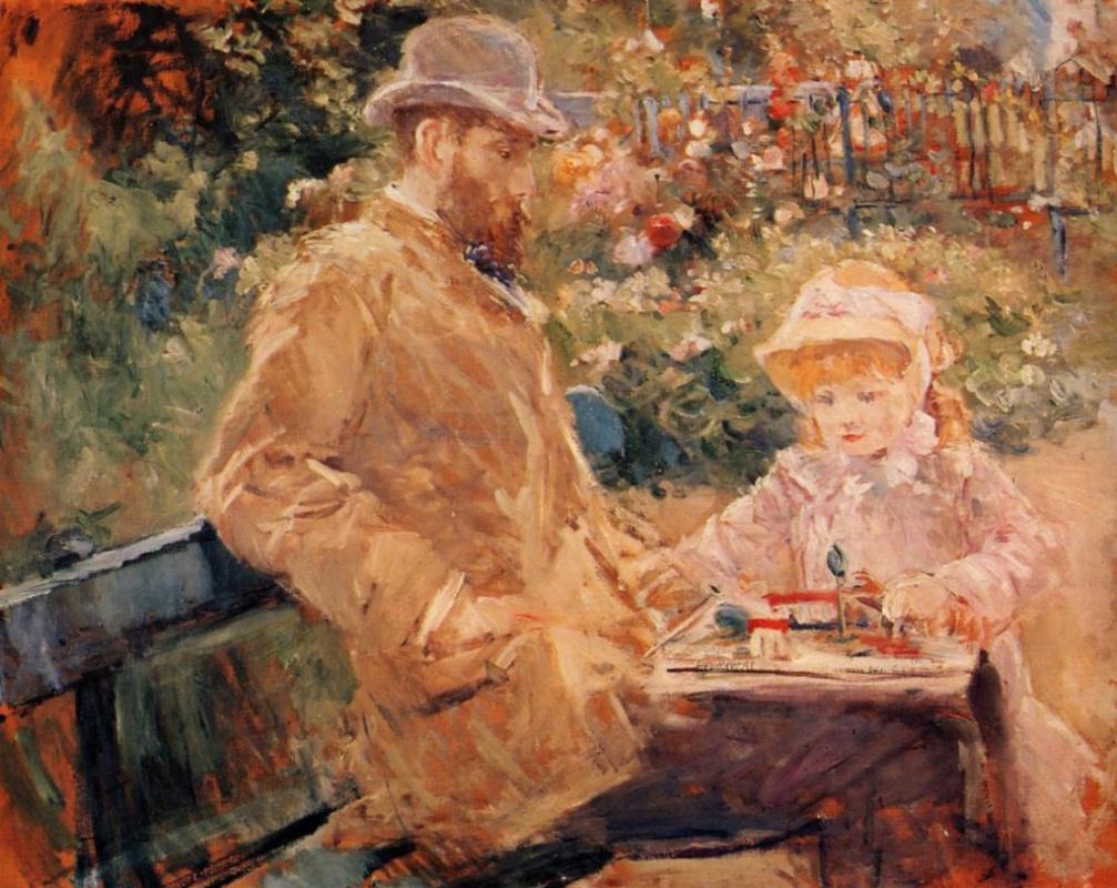 Berthe Morisot. Eugène Manet with his daughter at Bougival