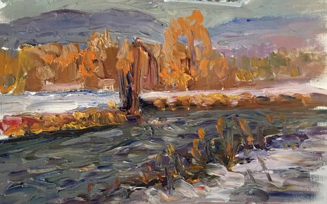 Victoria Marshakova. Sunset Mountain river.