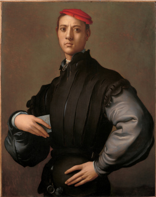 Jacopo Pontormo. Portrait of a young man in a red hat