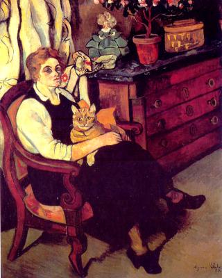 Сюзанна Валадон. Портрет мисс Лили Уолтон с кошкой
