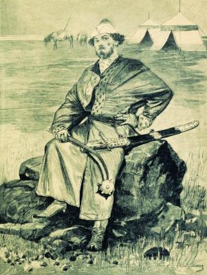 """Andrei Petrovich Ryabushkin. Alyosha Popovich. 1895 Illustration for the book """"Russian epic warriors"""""""