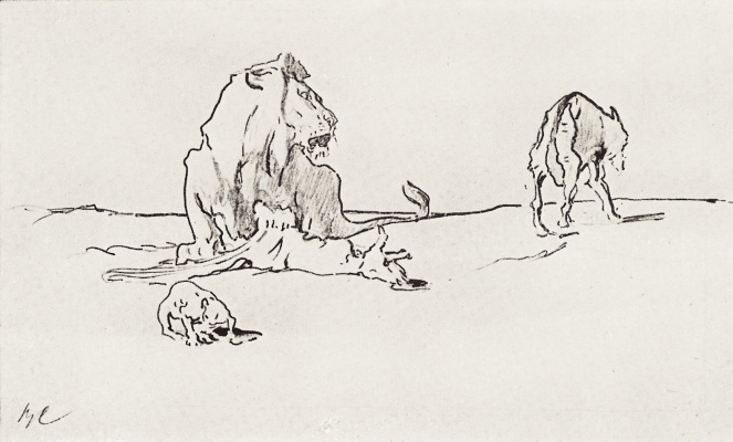 Valentin Aleksandrovich Serov. The lion and the wolf