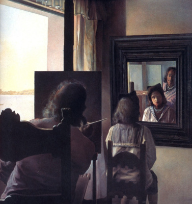 Сальвадор Дали. Дали, повернувшись спиною, пишет портрет Галы, повернувшейся спиною и увековеченной шестью виртуальными роговицами, временно отраженными в шести зеркалах