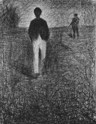 Georges Seurat. Two men on the field
