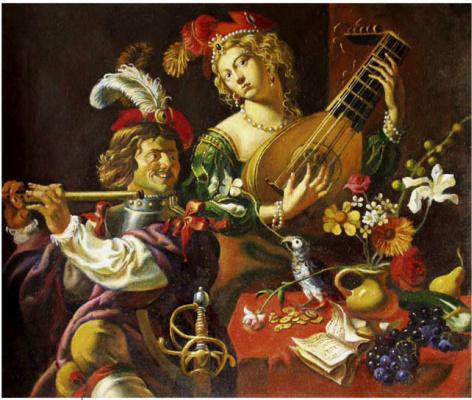 Daniil Litvinov. Натюрморт с цветами и музыкантами