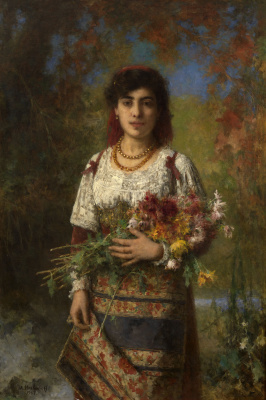 Alexey Alekseevich Kharlamov. Gypsy with flowers. 1907