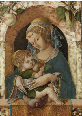 Madonna and Child at the marble parapet