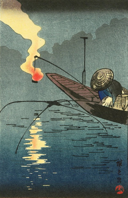 Утагава Хиросигэ. Ночная рыбалка с факелом