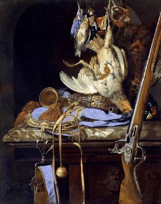 Виллем ван Алст. Натюрморт с охотничьими трофеями и принадлежностями