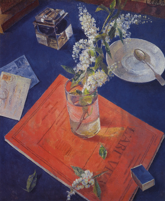 Kuzma Sergeevich Petrov-Vodkin. Bird cherry in a glass