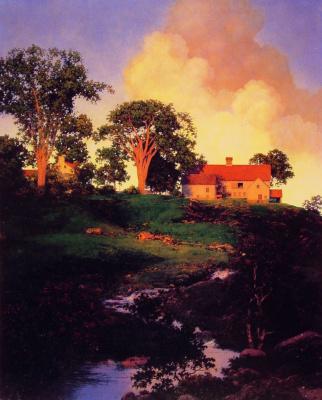 Maxfield Parrish. Evening landscape. Farm hunter