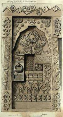 "Elena Dmitrievna Polenova. Sketch of the door ""Fairytale"" (outside) for the Aramtsev carpentry workshop"
