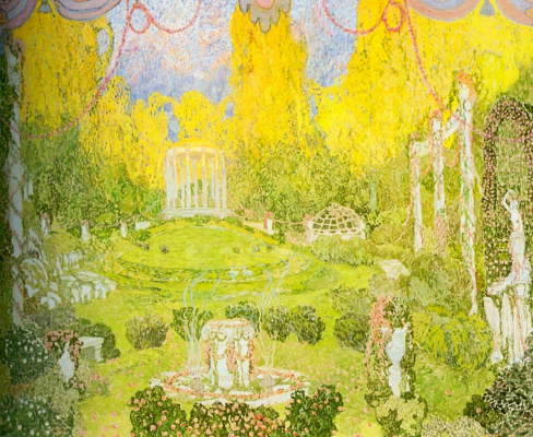 """Alexander Yakovlevich Golovin. The Temple Of Eros. A sketch of the scenery for the Opera of C. W. Gluck's """"Orpheus and Eurydice"""""""