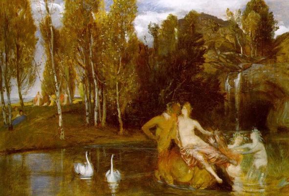 Arnold Böcklin. White swans