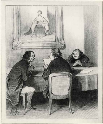 "Honore Daumier. Charity Committee: ""And every one of the gentlemen of Directors receives three thousand francs in damages for the rejection."