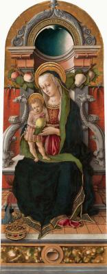 Карло Кривелли. Мадонна с младенцем на троне с донатором