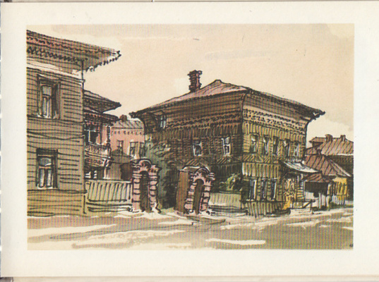 Emmanuel Bentsionovich Bernstein. Wooden houses on Menzhinsky street