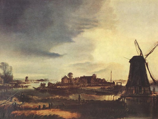 Art van der Ner. Landscape with windmills