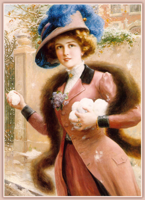 Emile Vernon. Elegant lady plays in the snow