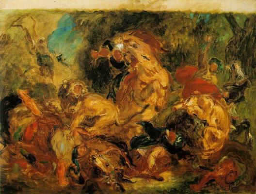 Эжен Делакруа. Охота на львов (Эскиз)
