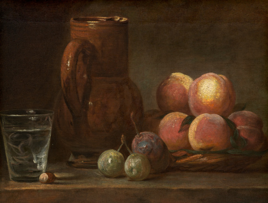 Jean Baptiste Simeon Chardin. Still life with pitcher, fruit and a glass Cup