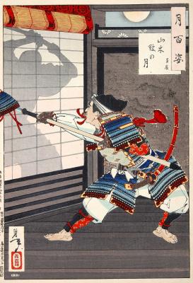 """Цукиока Ёситоси. Като Кагекадо выдвигает свой шлем, чтобы обмануть Тайра-но Канетаки. Серия """"100 видов луны"""""""