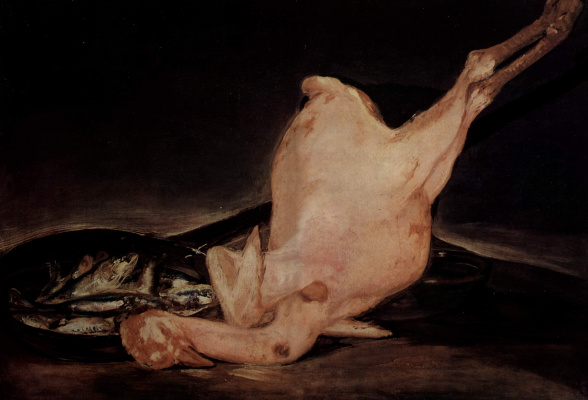 Francisco Goya. Still life plucked Turkey and pan with fish