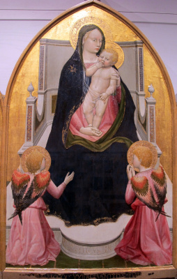 Tommaso Masaccio. Madonna with Child and two angels (Madonna on the throne). Triptych San Jovenale