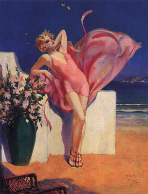 Henry Clive. Girl in a pink swimsuit
