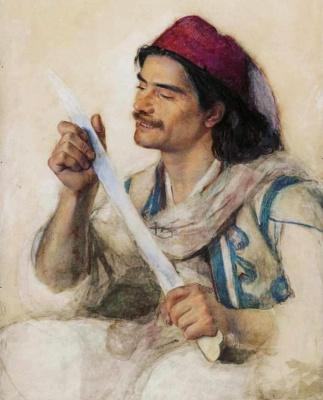 Frederick William Burton. Albanian with a knife