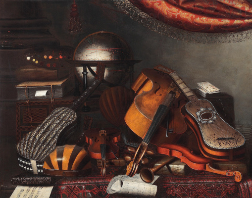 Bartolomeo bettera. Still life and musical instruments, books and playing cards