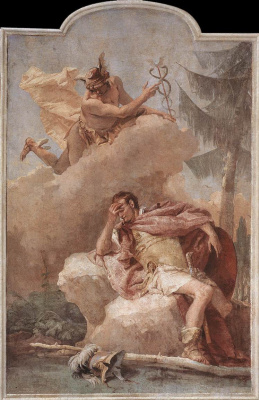 Giovanni Battista Tiepolo. Mercury is Aeneas in a dream and encourages him to leave Carthage