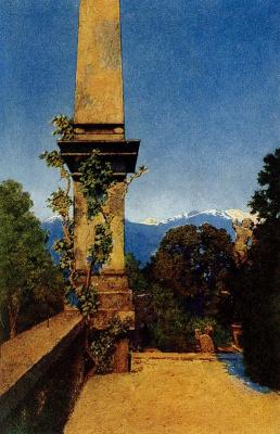 Максфилд Пэрриш. Пейзаж в садах Изола Белла, озеро Маджоре, Италия