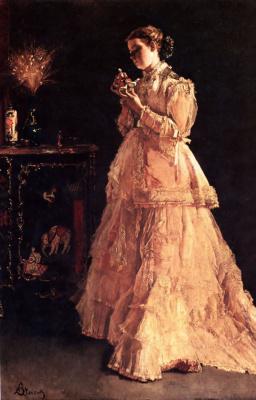 Alfred Stevens. Girl in pink dress