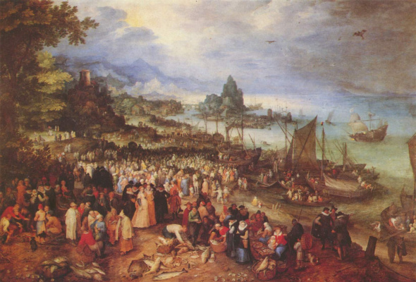 Jan Bruegel The Elder. Harbour with Christ preaching