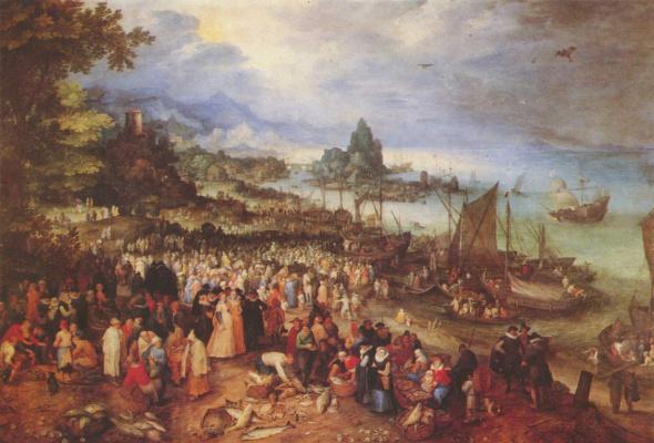 Jan Bruegel The Elder. Harbour with Christ preaching