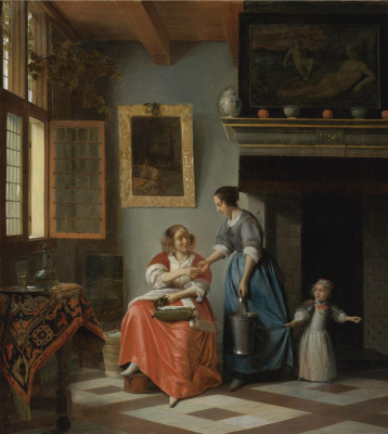 Pieter de Hooch. A woman handing a coin to the maid with the child