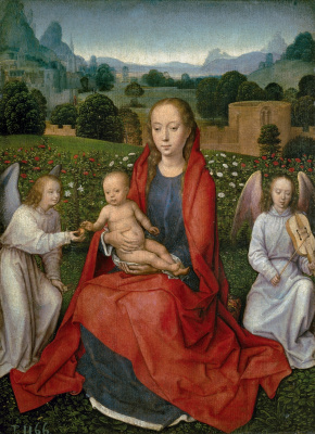 Hans Memling. The virgin and child between two angels